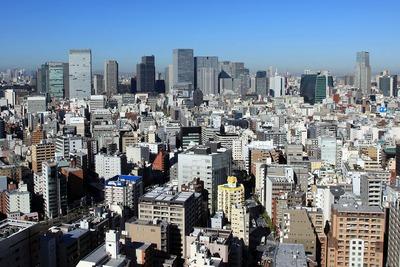 リバーシティ21新川から東京都新方面の眺め