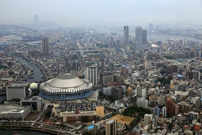 京セラドーム大阪方面の空撮