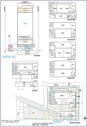 川崎市新本庁舎整備事業 断面図・平面図・配置図