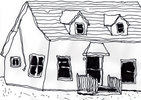左手で描いた家
