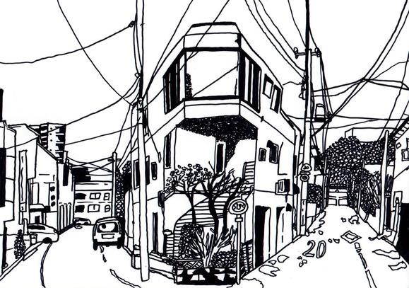 東中野のY字路