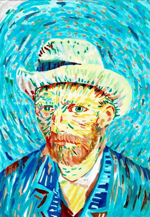 ゴッホ「フェルト帽を被った自画像」