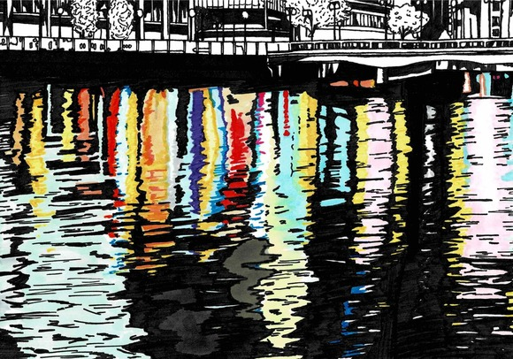 川面にうつる夜の街