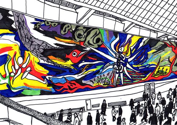 渋谷駅の「明日の神話」