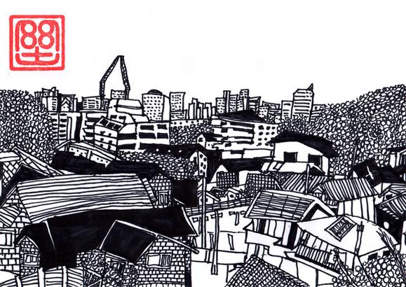 高台から見た町