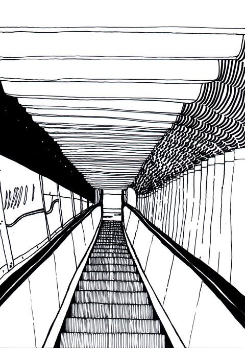 成田空港のエスカレーター