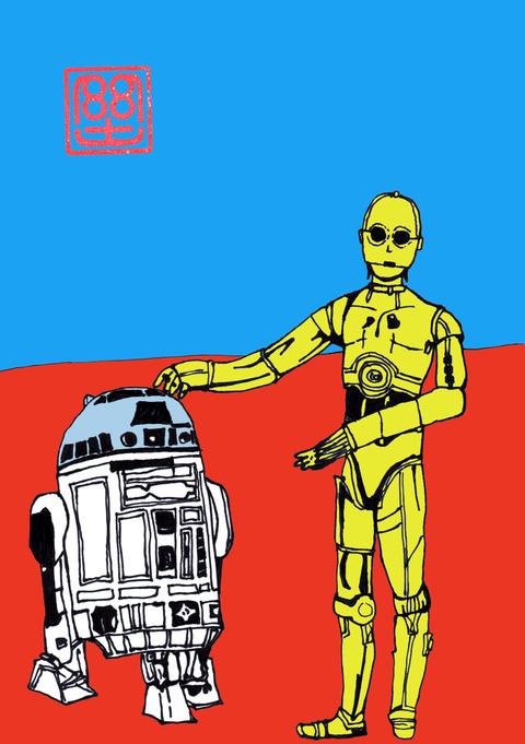 R2D2とC3PO(カラー)