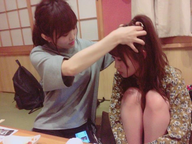 NMB48 さや姉の頭皮マッサージですやすや眠るりぽぽが可愛過ぎる 【山本彩・三秋里歩】