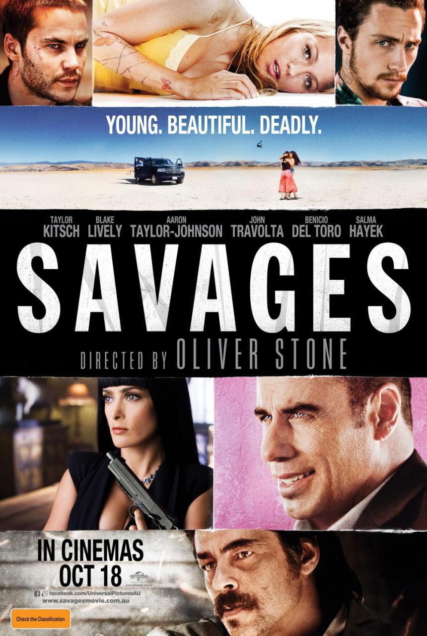 映画『野蛮なやつら/SAVAGES SAVAGES』ポスター(1) ▼ポスター画像クリックで拡大します。