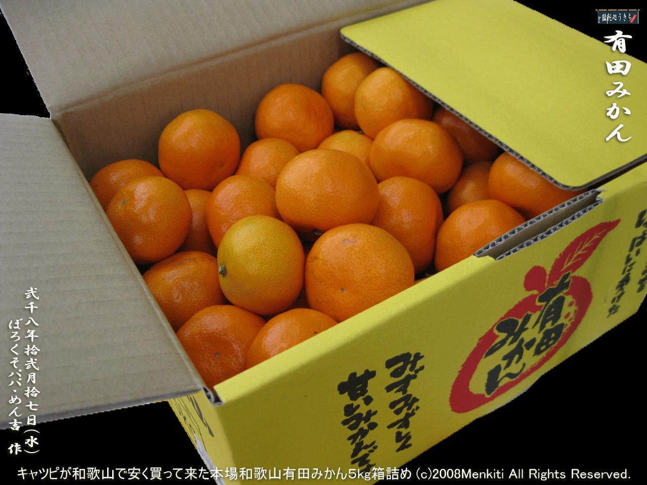 12/17(水)キャツピが和歌山で安く買って来た本場紀州和歌山有田みかん5kg箱詰め@キャツピ&めん吉の【ぼろくそパパの独り言】     ▼クリックで1280x960pxlsに拡大します。