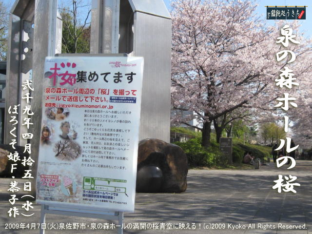 4/15(水)【泉の森ホールの桜】2009年4月7日(火)泉佐野市・泉の森ホールの満開の桜青空に映える!@キャツピ&めん吉の【ぼろくそパパの独り言】    ▼クリックで1280x960pxlsに拡大します。
