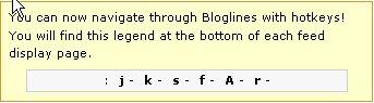 bloglines hotkey