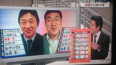 田尾、広澤、江本のパリーグ順位予想wwwwwww
