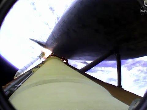 window of a Shuttle SRB Separation