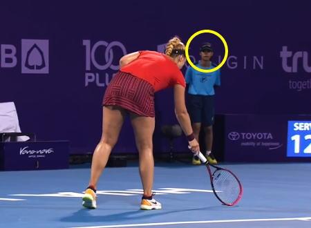 テニスのタイオープンで選手を超驚かせたボールガールの動画が話題にwww