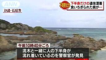 海岸に食いちぎられた下半身だけが漂着。先週から行方不明の男女のどちらかか? 沖縄