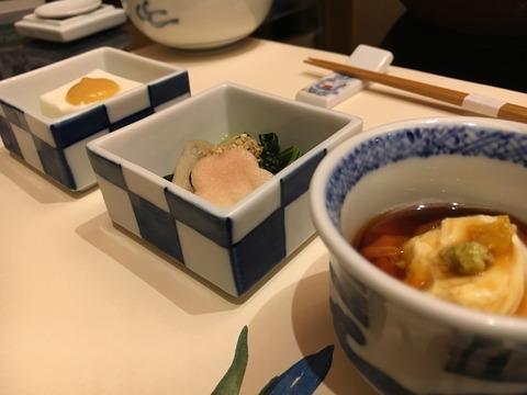 p1嶺岡豆腐・お浸し・湯葉煮