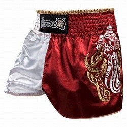 Elephant Muay Thai Shorts red silver1