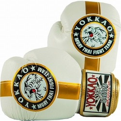 YOKKAO Official Fight Team WhiteGold Muay Thai Boxing Gloves 1