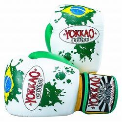 White Brazilian Flag Boxing Gloves1