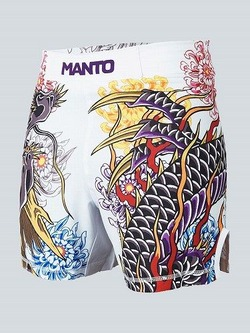 MANTO X Krazy Bee fight shorts DRAGON white 1