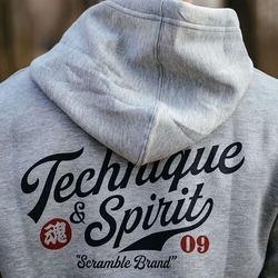 Technique and Spirit Pullover Hoodie Grey2