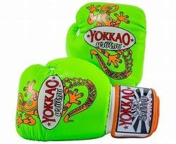 Gecko Muay Thai Boxing Gloves greenorange1