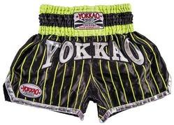 YOKKAO Pinstripe Satin Muay Thai Shorts BlackNeon Green 1