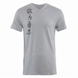 Kanji II Performance V Neck Silver1