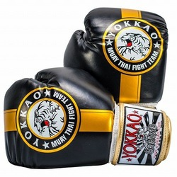 YOKKAO Official Fight Team GoldBlack Muay Thai Boxing Gloves 1