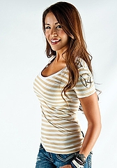 Ladys Tee Fitted Stripe tan2