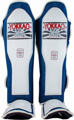 YOKKAO Denim White Shin Guards 1