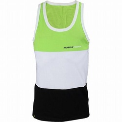 MusclePharm Tri-Fold Tank Green White Black 1