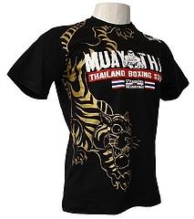 V&M Tシャツ Muay Thai Boxing 黒/ゴールド