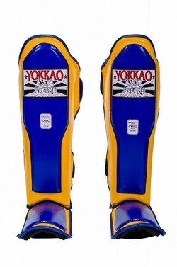 YOKKAO Double Impact YellowBlue Shin Guards 1