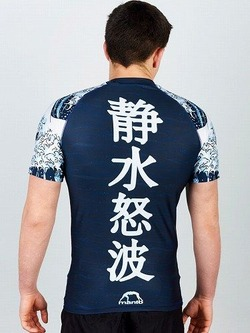 rashguard short sleeve WAVES navy blue 2