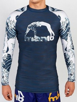 long sleeve rashguard WAVES navy blue 1