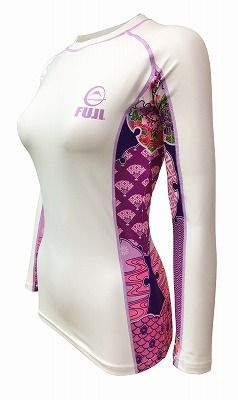 Fuji Sports Women's Kimono Rash Guard White-Pink 2