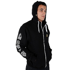 MANTO hoodie full zip EMBLEMS black2