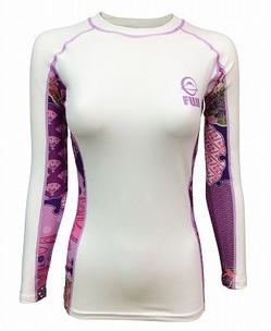 Fuji Sports Women's Kimono Rash Guard White-Pink 1