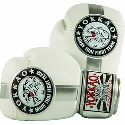 YOKKAO Official Fight Team SilverWhite Muay Thai Boxing Gloves 1
