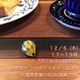 181206 ハリネズミ珈琲店、金森浩太 クリスマスギターBGM
