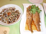 アサリと魚の料理