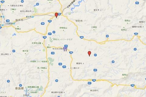 宇陀水分三社における宇太水分神社(中社)の位置