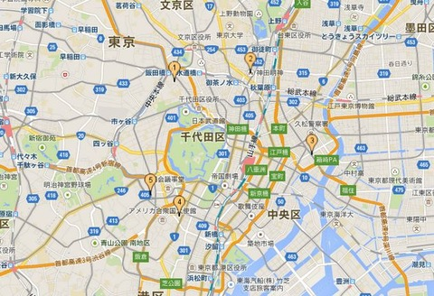 新・東京五社、東京大神宮(1)、神田神社(神田明神)(2)、水天宮(3)、金刀比羅宮(4)、日枝神社(5)の位置関係