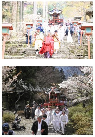 桜と神、英彦山神宮で神幸祭 三柱の神を乗せた神輿が「お下り」「お上り」 - 福岡県・添田町のキャプチャー