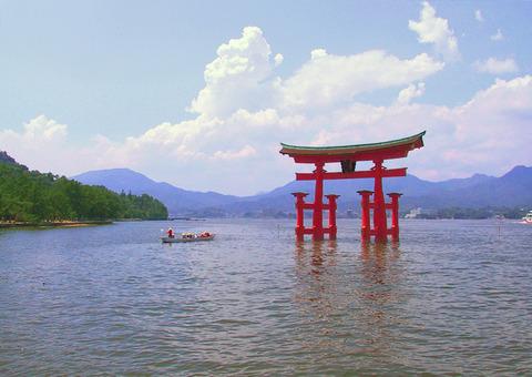 厳島神社の大鳥居を望む貸切露天風呂 - 古事記の神々の系譜や神社などを思い描きながら満喫したいのキャプチャー