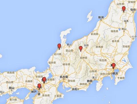 日本七神明 - 東京、京都、大阪、石川、長野、山形の各地に点在する有力な神明神社