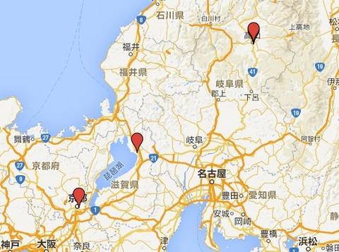 日本三大山車祭とは? - 長浜曳山祭、高山祭、祇園祭の位置関係