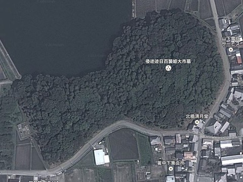 箸墓古墳(奈良県・桜井市) by Googleアース - ぶっちゃけ古事記